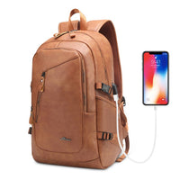 Laptop Leather Backpack Mens 15.6 Inch Notebook Men Bag Pack Waterproof USB Charging Male Bagpack Black Smart Fashion Man Bags - Creative Dreamscape
