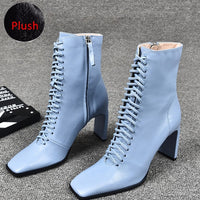 Women Leather Boots Fashion High Heels Shoes Winter Lace Up Woman Ankle Boots Square Toe Ankle Boots Female Shoes Heels - Creative Dreamscape