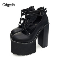 Gdgydh 2020 Fashion Women Pumps High Heels Zipper Rubber Sole Black Platform Shoes Spring Autumn Leather Shoes Female Promotion - Creative Dreamscape