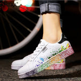 Women Flat Sneakers Lace up Colorful Graffiti 2020 Spring Platform Female PU Flats Fashion Ladies Walking Vulcanized Shoes New - Creative Dreamscape