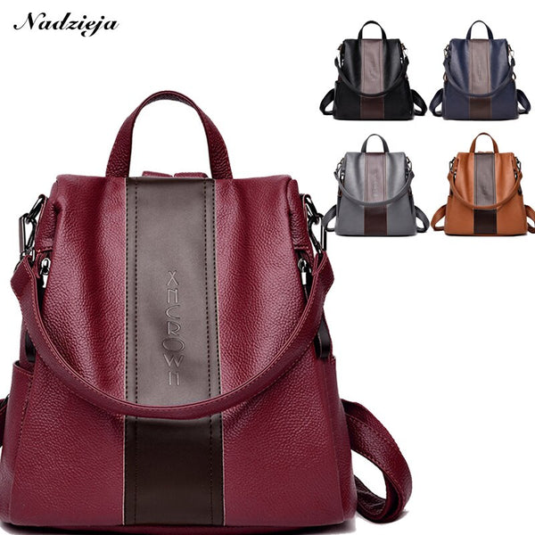 Fashion Women Backpack Purse PU Leather Anti-theft Backpack Casual Satchel Shoulder Bag for Girls Lightweight Female Backpack - Creative Dreamscape