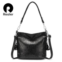 REALER shoulder bags for women 2019 luxury handbag women bags designer large Hobos with tassel Animal Prints Pu leather - Creative Dreamscape