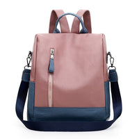 panelled anti theft leather backpack women Ladies Backpacks For teenage girl college backpack female shoulder school travel bags - Creative Dreamscape