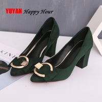 Sexy High Heels Women Pumps Pointe Shoes 2020 Spring Women Square Heel Shoes Woman Shoes High Heel 7.5cm A649 - Creative Dreamscape