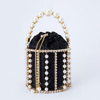 Hollow Out Pearl Bucket Evening Bag Women 2019 Luxury Designer Korean Handmade Alloy Metallic Clutch Bag Ladies Shoulder Bags - Creative Dreamscape