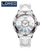 LOREO Women Mechanical Watch Diamond Design Top Brand Luxury Leather Wristwatch Waterproof Female Automatic Clock Montre Femme - Creative Dreamscape
