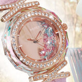 Fashion Watch Pink Crystal Quick Sand Watch Female Zircon Korean Personality Leisure Leather Watch Strap Lady Watch - Creative Dreamscape