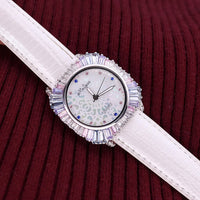 Luxury Mother-of-pearl Rhinestones Lady Women's Watch Japan Quartz Hours Fashion Real Leather Crystal Birthday Gift Melissa Box - Creative Dreamscape