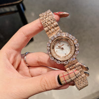 Double-Circle Moving Sands Crystals Watches for Women Sparkly Diamond Jewelry Watch Quartz Waterproof Steel Bracelet Wrist watch - Creative Dreamscape