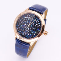 Luxury Melissa Lady Women's Watch Full Rhinestone Crystal Fashion Hour Dress Leather Bracelet Clock Girl's Birthday Gift Box - Creative Dreamscape