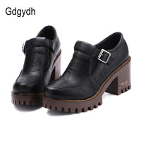 Gdgydh New 2020 Spring Platform Women Shoes On Heels British Style Single Shoes Round Toe Square Heels Ladies Pumps Large Size - Creative Dreamscape