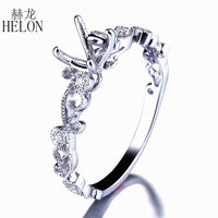 HELON 5-6mm Round Cut Semi Mount Ring Setting Solid 14K (AU585) White Gold Natural Diamonds Engagement Wedding Ring Fine Jewelry - Creative Dreamscape
