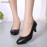 2019 spring new comfortable shallow mouth high heels Korean fashion casual black womens single shoes 5cm professional work shoes - Creative Dreamscape