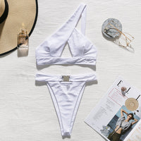 In-X One shoulder bikini set Sexy keyhole bikini 2020 High cut swimsuit female bathing suit Hollow out swimwear women bathers - Creative Dreamscape