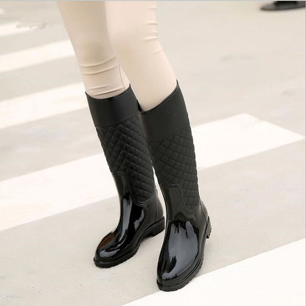 Punk Style Zipper Rain Boots Women's Pure Color Rain Boots Outdoor Rubber Water shoes For Female 36-41 Plus size - Creative Dreamscape