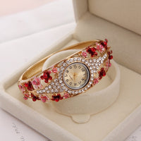 MINHIN Brand Luxury Bangle Watch Ladies Crystal Flower Bracelet Women Lovely Gift Dress Quartz Watch Gold Plated Wristwatch - Creative Dreamscape