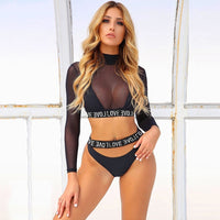 2020 Sexy Leopard Print Three Pieces Bikini Set Swimwear Women Swimsuit Mesh Long Sleeves Sunscreen Beach Cover Up Bathing Suits - Creative Dreamscape