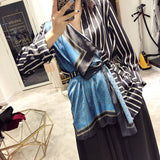 DEAT 2020 new spring and summer fashion women clothes turn-down collar striped patchwork shirt female scarf spliced WE92605L - Creative Dreamscape