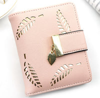 Ladies Leather Wallet Fashion Brand Designer Card Holder Coin Women Wallet Leaf Hollow Clutch Short Women Wallet - Creative Dreamscape