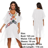 Large Size Robe Beach Dress Long Cover Up Swimsuit Cover-up Women Ups White Bathing Suit Maxi Wear Beachwear Crochet Flower 2019 - Creative Dreamscape