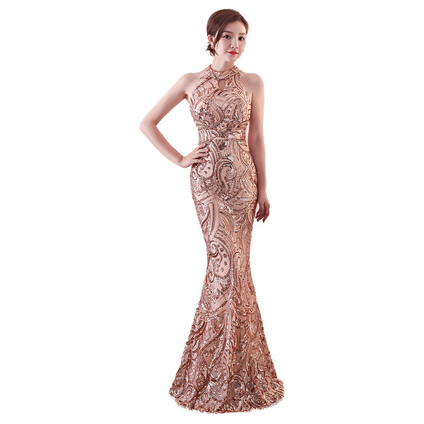 Mermaid Sequin Evening Dress - Creative Dreamscape