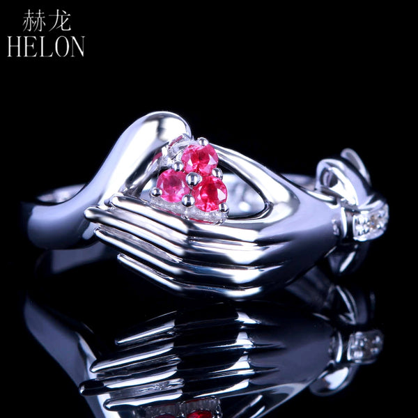 HELON Unique Art Deco Jewelry Solid 10K Solid White Gold 100% Genuine Natural Diamonds & Ruby Engagement Wedding Fine Ring Band - Creative Dreamscape