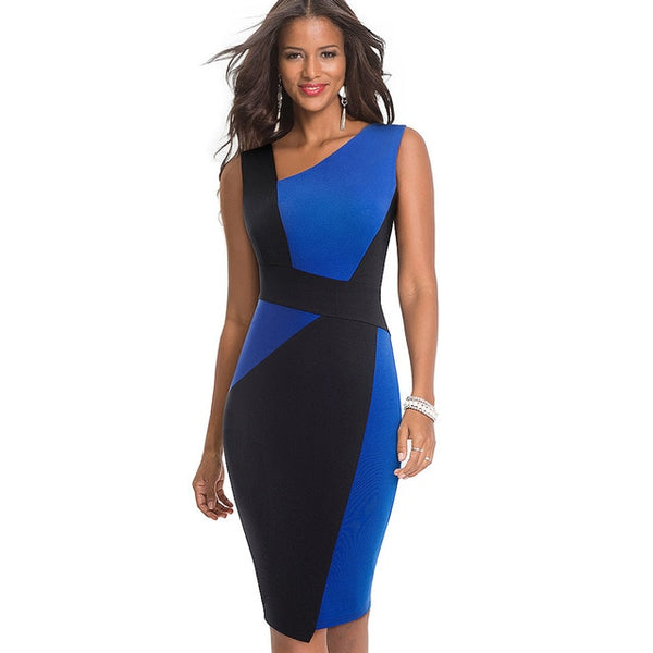 Nice-Forever Vintage Contrast Color Patchwork Bodycon Dress - Creative Dreamscape