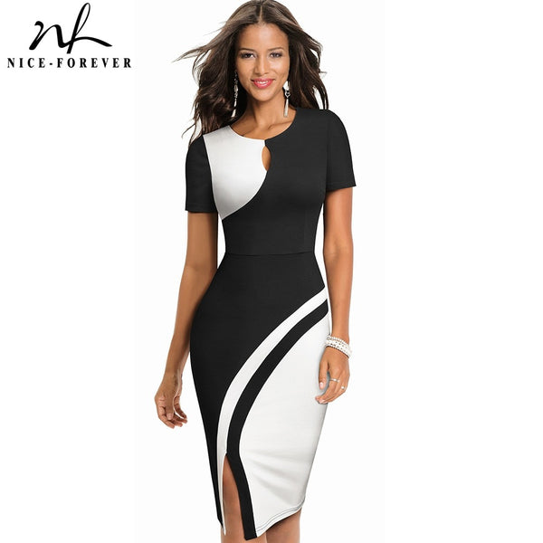 Nice-forever New Spring Elegant Stylish Contrast Color Patchwork Office Work vestidos Business Bodycon Women Dress B571 - Creative Dreamscape