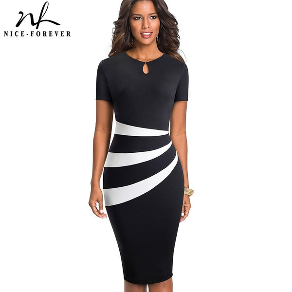 Nice-forever Vintage Optical Illusion Business Dress - Creative Dreamscape