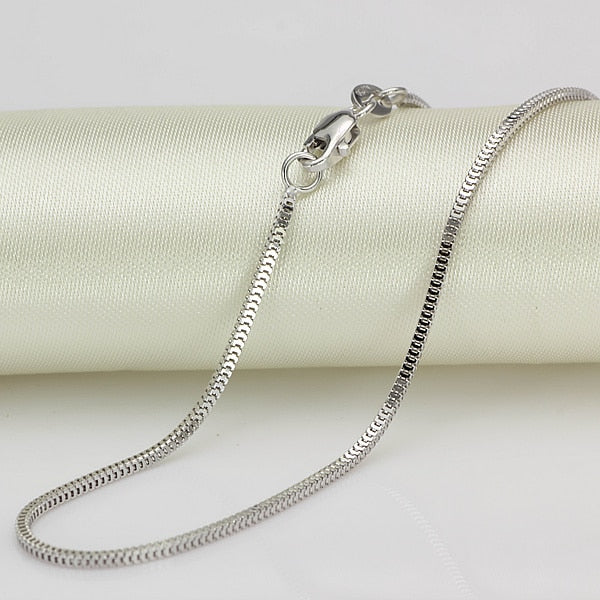 "Pure 18K White Gold Necklace 1.5mmW Milan Box Chain Link 18""L 2.2-2.7g - Creative Dreamscape"