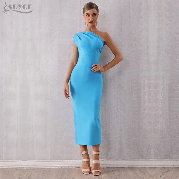 ADYCE 2019 New Fashion Elegant Women One Shoulder Bandage Dress Sexy Sleeveless Bodycon Sky Blue Celebrity Evening Party Dresses - Creative Dreamscape