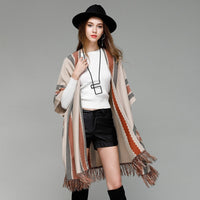 2019 Rushed Poncho Blusas De Inverno Feminina New Pattern Tassels Knitting Shawl Loose Coat A All-match Bat Shirt Sweater Woman - Creative Dreamscape