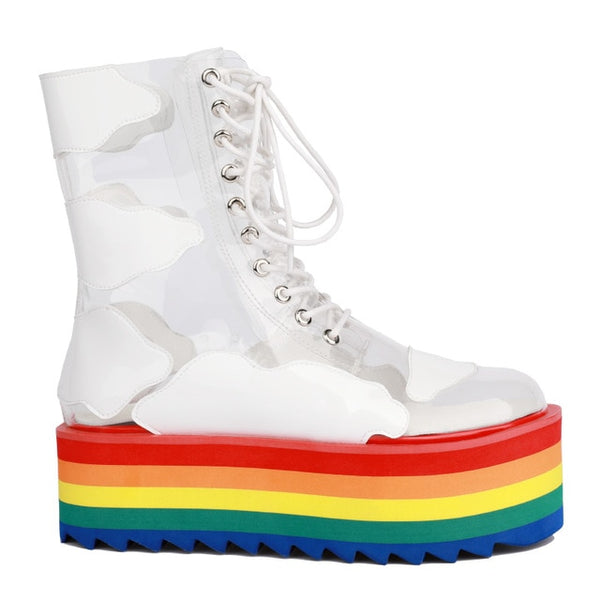 Rainbow Ankle Boots High Platform Heels Short Boots Nightclub Cake Bottom Ladies Shoes Thick Sole Transparent PVC Booties - Creative Dreamscape