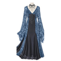 Rosetic Women Dress Lace Patchwork Chiffon Printing V neck Retro Temperament Slim Women Vintage Dress Gown Medieva Retro Dresses - Creative Dreamscape