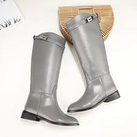 Designer Genuine Leather Long Boots Sexy Woman Motorcycle Booties Belt Strap Metal Shark Lock flat heel Knee High Boots - Creative Dreamscape