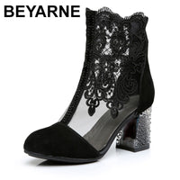 BEYARNEWomen's Shoes Lace Genuine Cow Leather Spring Summer Fashion Boots High Heels Round Toe Mid-Calf Boots Shoe Plus SizeE262 - Creative Dreamscape