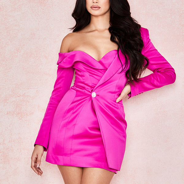 Adyce 2020 New Winter Women Long Sleeve Female Fashion Club Coat Sexy V-Neck One Shoulder Slim Celebrity Party Trench Coats - Creative Dreamscape