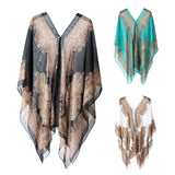 Women Summer Beach Bikini Cover Up Loose Chiffon Blouse Shawl Scarf with Button-s suitable for party holiday daily wear - Creative Dreamscape