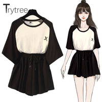 Trytree Summer Women two piece set Casual O-Neck tops + shorts Skirts Elastic waist Drawstring Pockets Thin Suit Set 2 Piece Set - Creative Dreamscape