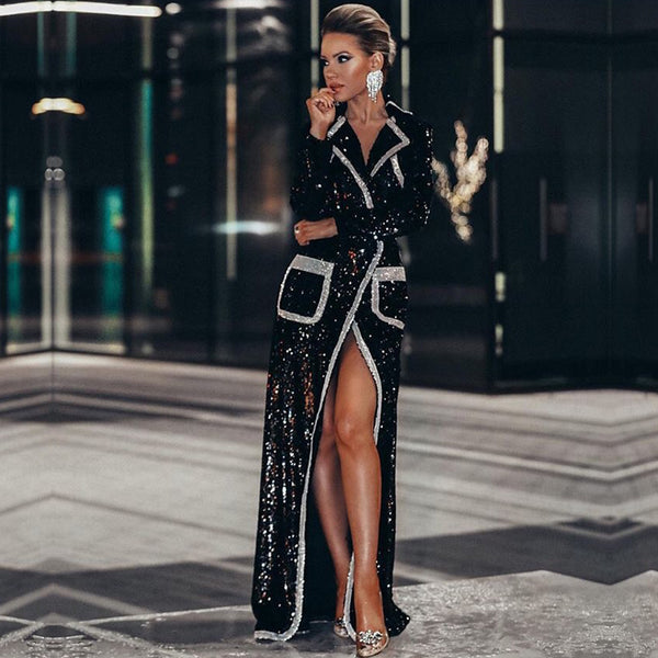 Adyce 2020 New Winter Women Fashion Trench Coats Black Sequin Deep V Long Sleeve Double Breasted Long Style Coat Women Maxi Coat - Creative Dreamscape