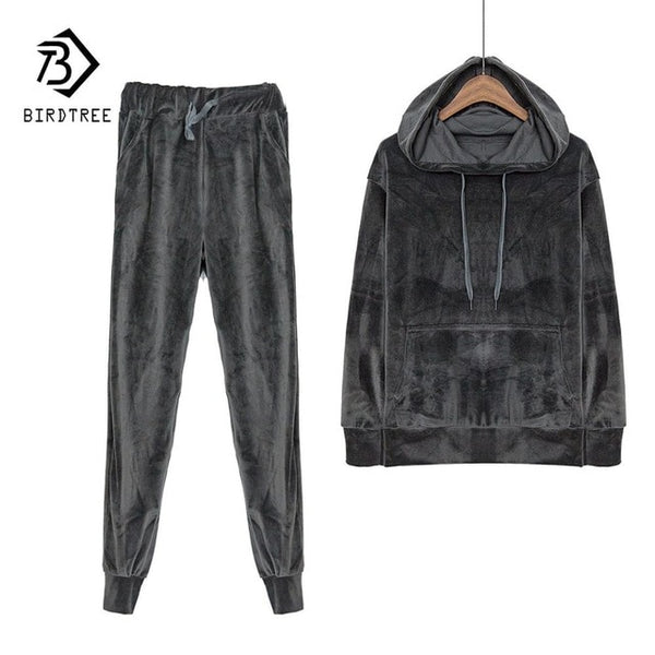 Velvet Tracksuit Two Piece Set Women Sexy Hooded Grey Long Sleeve Top And Pants Bodysuit Suit Runway Fashion 2018 Black D79101 - Creative Dreamscape