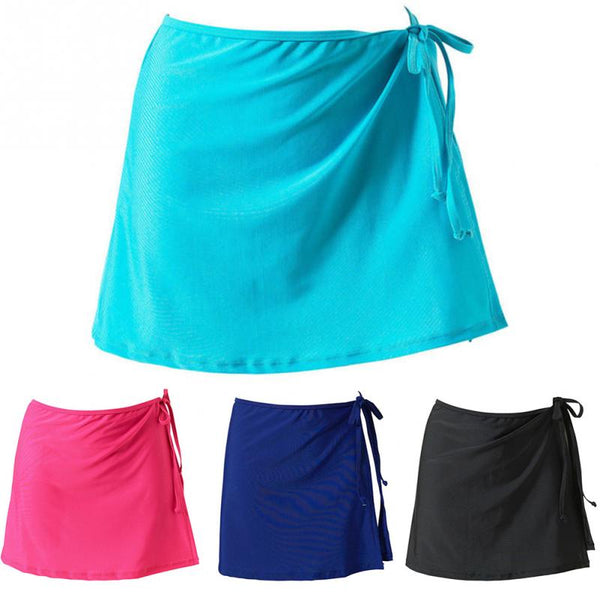New Lace-up Beach Skirt Women Summer Short Bikini Cover Up Swim Wear Solid Sexy Mini Wrap Skirt Scarf Beachwear Swimsuit#2 - Creative Dreamscape