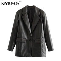 KPYTOMOA Women 2020 Fashion PU Faux Leather Loose Blazer Coat Vintage Pockets Long Sleeve Back Vents Female Outerwear Chic Tops - Creative Dreamscape