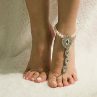 Beautiful Crystal and Pearl Barefoot Sandals - Creative Dreamscape