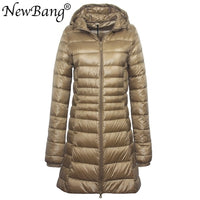 NewBang 8XL Ladies Long Warm Down Coat With Portable Storage Bag Women Ultra Light Down Jacket Women's Overcoats Hip-Length - Creative Dreamscape