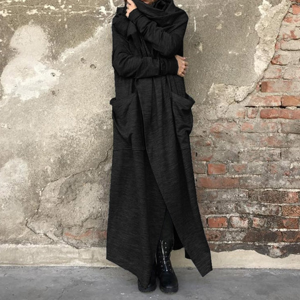 Fashion ZANZEA Women Cowl Neck Long Sleeve Long Jackets Autumn Solid Cardigan Vintage Loose Coats Femininas Open Front Shirts - Creative Dreamscape
