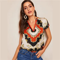 SHEIN Vintage Multicolor Curved Hem Scarf Print V Neck Top Satin Blouse Women Summer Cap Sleeve Glamorous Casual Blouses - Creative Dreamscape