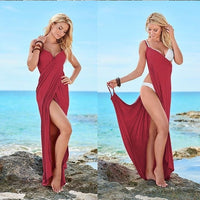2019 New Fashion Women Red Color Sling Backless Swimwear Scarf Beach Cover Up Wrap Sarong Long Dress Infinite Wear Maxi Dresses - Creative Dreamscape