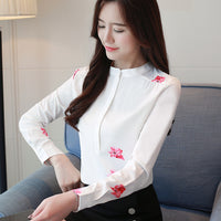 long sleeve women shirts plus size white blouse print women blouse shirt fashion womens blouses and tops office blouse 1042 40 - Creative Dreamscape