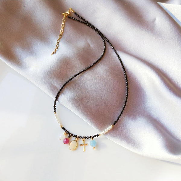 Lii Ji Genuine Stone Choker Necklace Ruby Spinel 9K Yellow Gold Australian White Opal Charm US 14K GF Cross Delicate Necklace - Creative Dreamscape